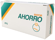 Caja de medicamento genérico con el eslogan Mayor Ahorro