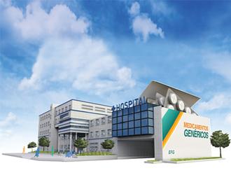 Hospital construido con una caja de medicamentos genéricos.
